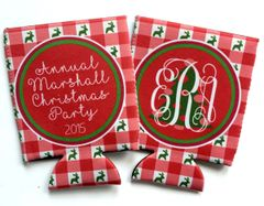 Christmas Party Gingham Coozies