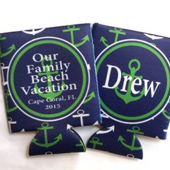 Anchor Navy and Green Nautical Party Huggers
