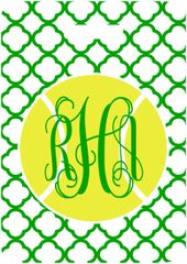 Tennis Green Quatrefoil Bag Tag