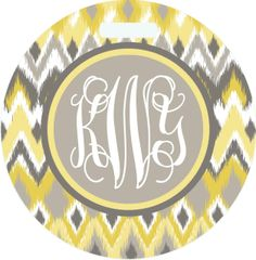 Ikat Yellow Chevron Monogrammed Luggage Tag