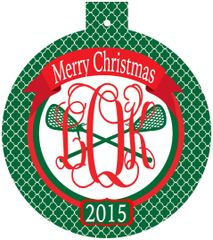 Lacrosse Christmas Monogrammed Ornament