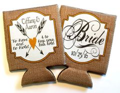 Wedding Burlap Bride and Groom Coozies