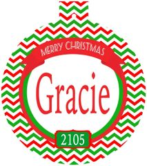 Chevron Christmas Monogrammed Ornament