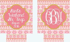 Ski Trip or Ski Party Pink and Gold Nordic Huggers