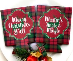 Christmas Plaid Party Coozies
