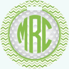 Golf Chevron Monogrammed Bag Tag