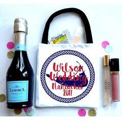 Nantucket Wedding Favor Totes, Hangover recovery Bag. Oh Shit kits!