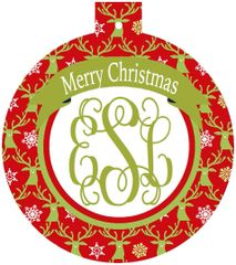 Deer Christmas Monogrammed Ornament