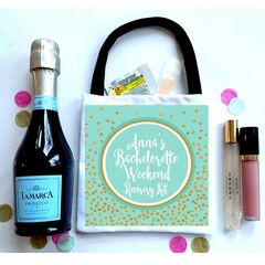 Mint and Gold Favor Totes, Hangover recovery Bag. Oh Shit kits!