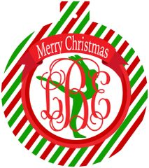 Gymnastics Christmas Monogrammed Ornament