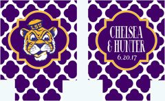 Purple Quatrefoil Party Coozies