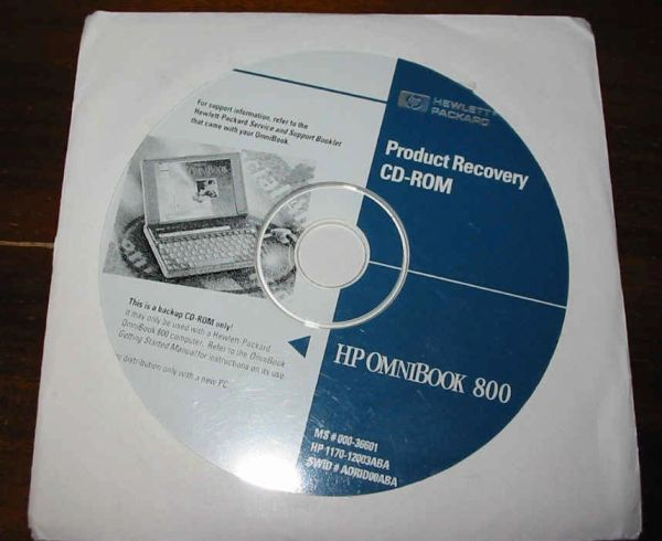 HP OmniBook 800CT 5/100 5/133 Genuine Recovery CD-ROM