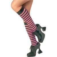 Pink & Black Knee High Stockings Item# 6054