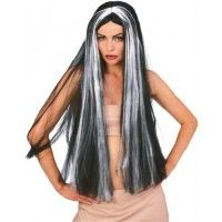 "36"" Long Black Vampire Wig With Grey Streaks Item# 50707 (R)"