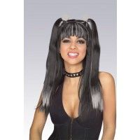 Black & Grey Goth Cheerleader Wig Item# 51336 (R)