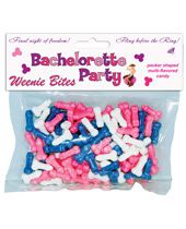 Bachelorette Party Weenie Bites Candy (pink,wht,blu)