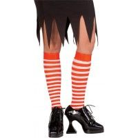 Red & White Striped Knee High Stockings Item# 6055 (R)