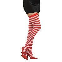 Red / White Striped Thigh Highs Item# 8541 (R)