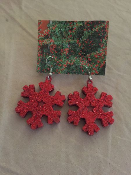 Red Snowflake Earrings