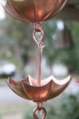 4237 Umbrella Cups Copper Rain Chain, 8 Feet