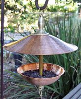 "3102B Hammered Pure Copper/Brass Bird Feeder, Large, 16"" across"