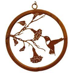 R215 Hummingbird on Morning Glory Branch Ring