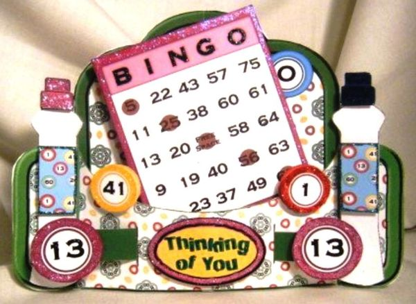 Bingo 3d Stand Alone Greeting Card Handmade Greeting Cards For