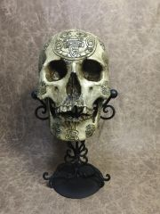 Mayan Theme Real Human Skull Replica Carved by Zane Wylie