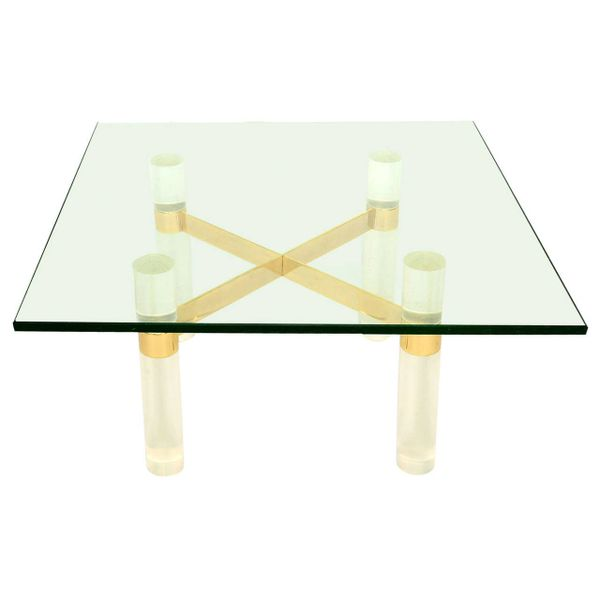 Lucite Coffee Table.Karl Springer Lucite Coffee Table Base