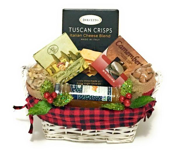 Tuscan Crisps and Cheese Gift Basket.