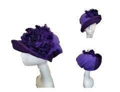 Purple fleece & felt hat with a deep Babbitt brim
