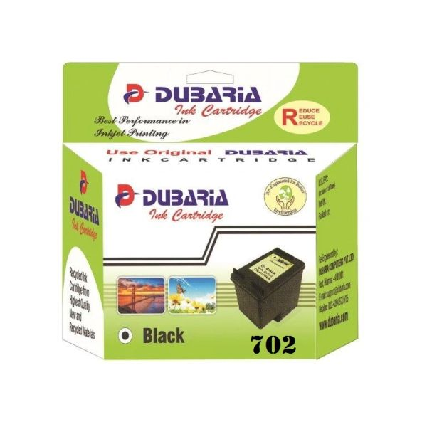 Dubaria 702 Black Ink Cartridge For HP 702 Black Ink Cartridge For Use In HP OfficeJet J3606, J3508, J3608, J5508 all-in-ones Printers