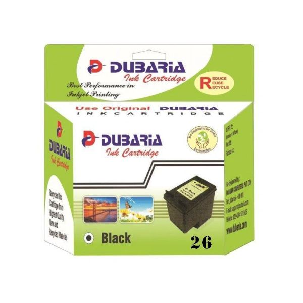 Dubaria 26 Black Ink Cartridge For HP 26 Black Ink Cartridge