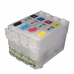 Dubaria Refillable Ink Cartridges Compatible For Epson T190 - T1901, T1902, T1903, T1904 For Use In ME Series: ME 301, 303, 401, WORKFORCE Series: WF-2538, WF-2548 and WF-2528 Printers - Cyan, Magenta Yellow & Black Ink Cartridges