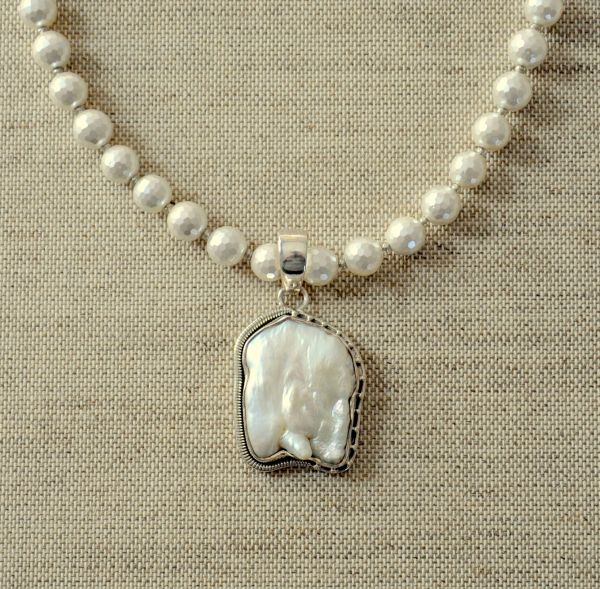 Necklace pearl white baroque pearl sterling silver pendant nk prl 1711 faceted pearl necklace with baroque pearl pendant aloadofball Gallery