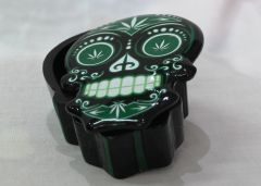 Candy Skull Stash Box - Green & White