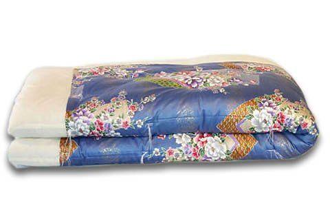 Japanese Kake Futon Comforter Twin Royal Blue Floral