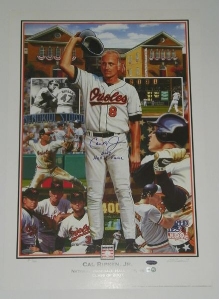 Cal Ripken Jr Signed Autographed Auto 17x25 Limited Edition Hall of Fame Lithograph w/Hall of Fame 2007 - MLB & Ironclad Authentic