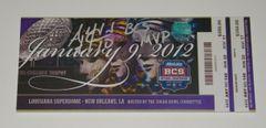 A. J. McCarron Signed Autographed Auto 2011 BCS Championship Mini Mega Ticket w/BCS MVP - Proof