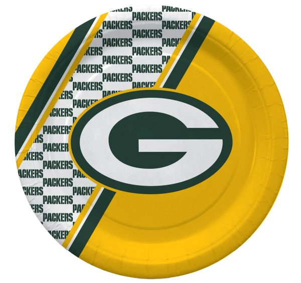 """Green Bay Packers 10"""" Disposable Paper Plates 20 Count Partyware"""
