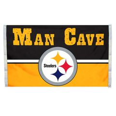 "Pittsburgh Steelers ""Man Cave"" 3' x 5' Banner Flag NFL Licensed"