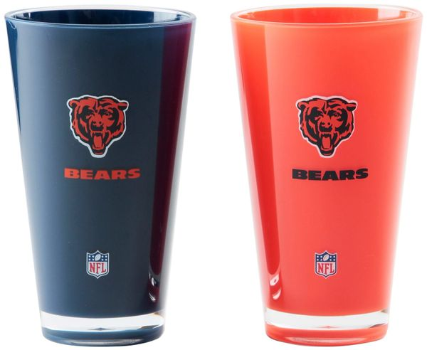 """Chicago Bears Acrylic 2 pack Tumbler Cup 20oz Round Insulated/Shatterproof """"On FIeld Colors"""" NFL Licensed"""