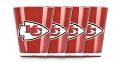 Kansas City Chiefs Shot Glasses 4 Pack Shatterproof NFL