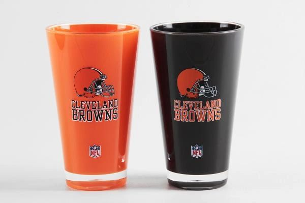 "Cleveland Browns Acrylic Tumbler Cup 2pack 20oz. Round ""On Field Colors"" NFL Licensed FREE SHIPPING"