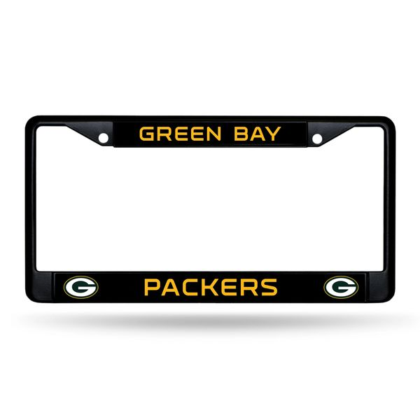 Green Bay Packers BLACK Chrome Metal License Plate Frame NFL Licensed