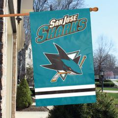 San Jose Sharks 2 Sided Embroidered Vertical House - Wall Flag