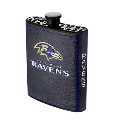 Baltimore Ravens NFL Plastic Hip Flask w/ Team Colors and Logo