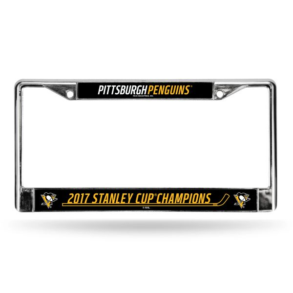 """Pittsburgh Penguins """"2017 Stanley Cup Champions"""" Chrome License Plate Frame NHL"""