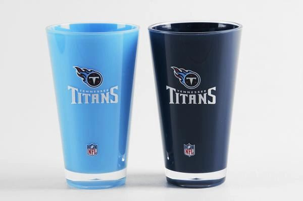 """Tennessee Titans Acrylic Tumbler Cup 2pack 20oz. Round """"On Field Colors"""" NFL Licensed FREE SHIPPING"""