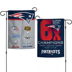 New England Pariots 6X Super Bowl Champions 2 Sided Garden Flag
